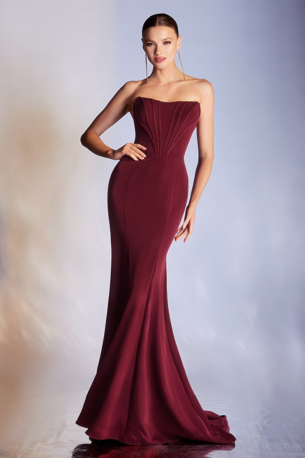 Elegant Mermaid Style Off Shoulder Gown with Fitted Bodice #CDCD223