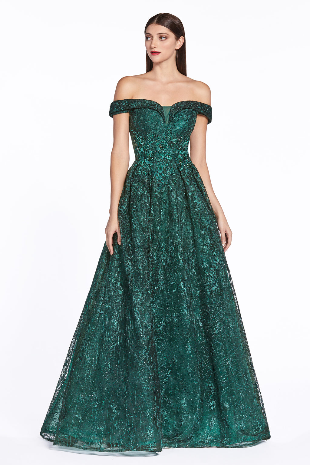 Off Shoulder Lace Embroidered Ball Gown Style #LACD38 | Prom 2020
