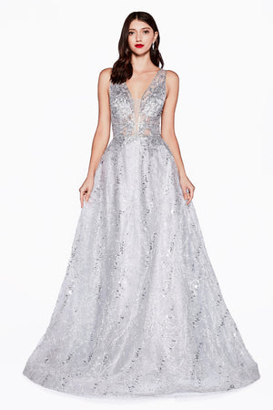 Lace Embroidered Ball Gown with Embroidered Net Overlay Style #LACD46 | Prom 2020