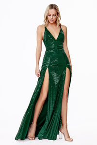 Shimmering Double Slit Dress Style #LACD915 | Prom 2020