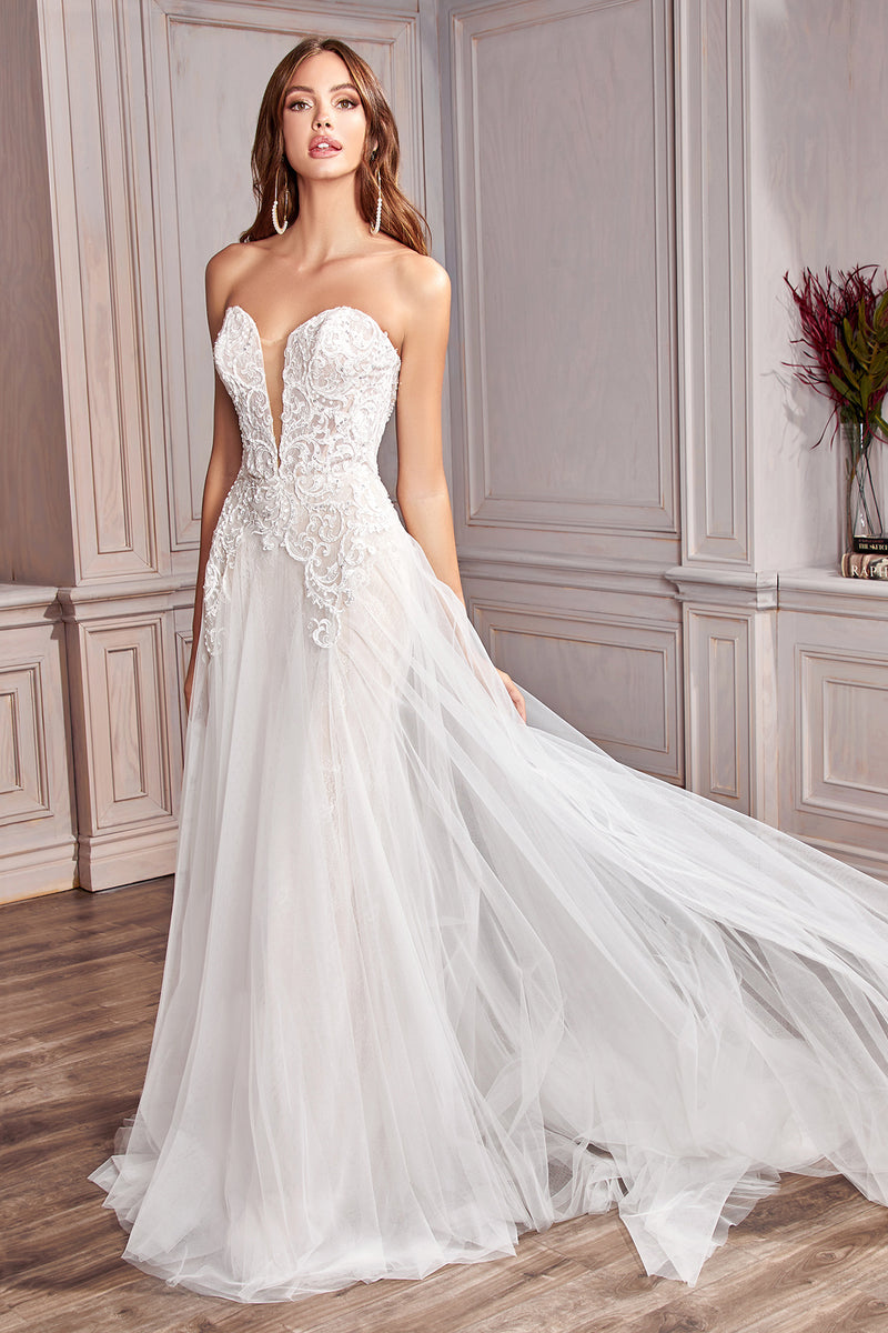 Elegant Wedding Gown with Sleeve Accents and Plunge Neckline #CDCD936