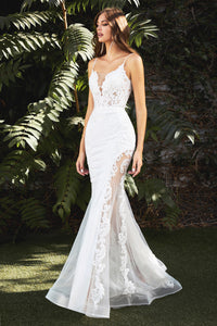 Gorgeous Fitted Wedding Gown with Embroidered Detailing and Sheer Leg Slit #CDCD937W