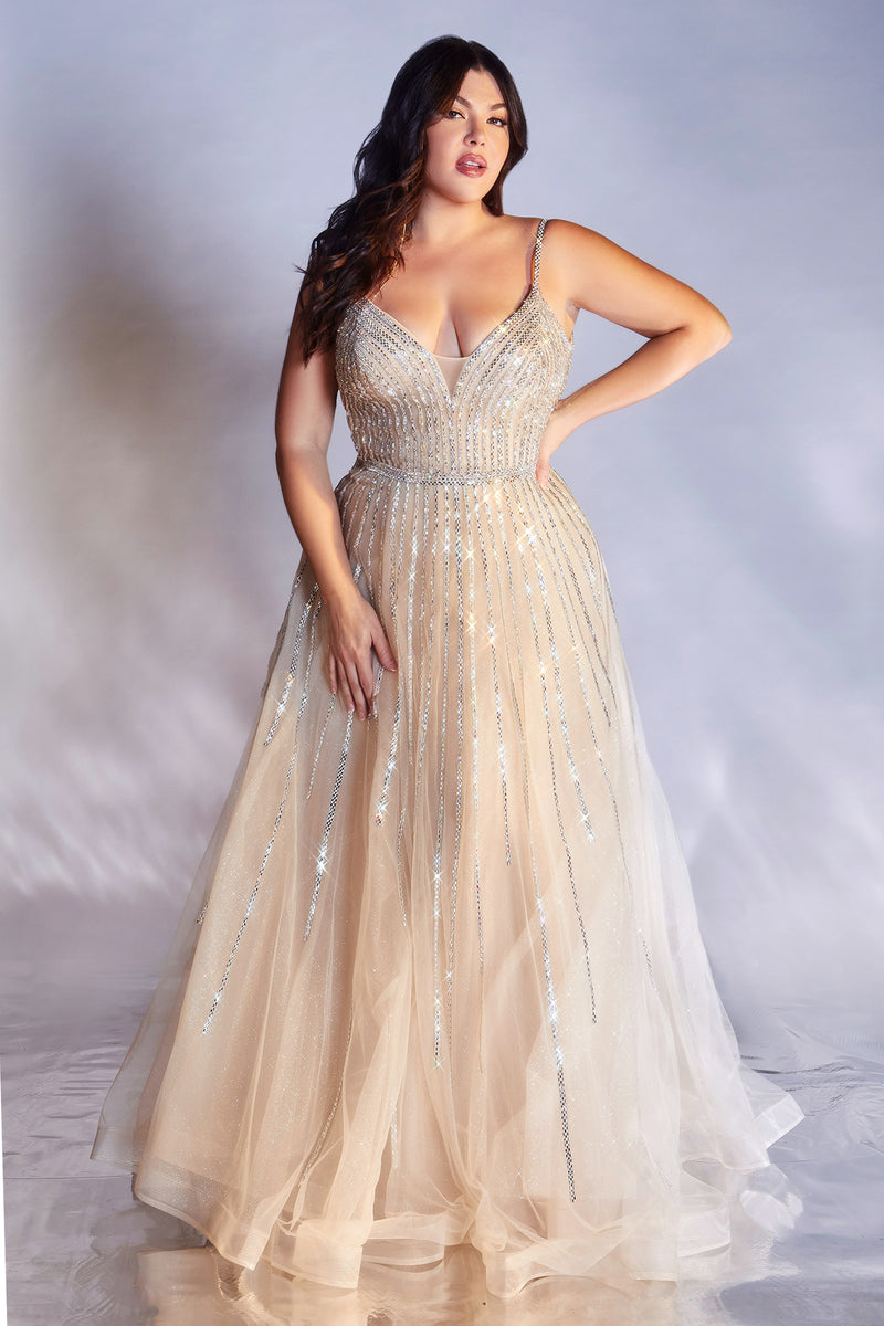 Elegant Plus Size Gown with Deep Neckline and Shimmery Skirt #CDCD940C