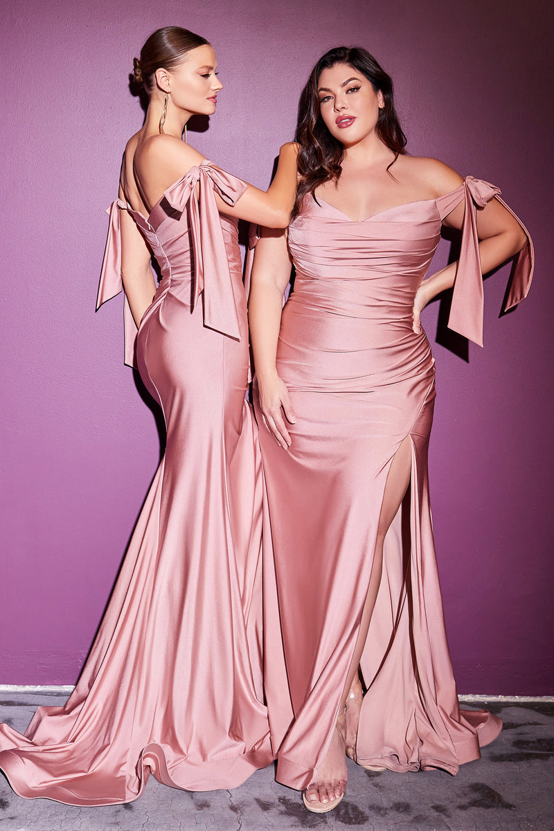 Elegant Off Shoulder Plus Size Fitted Gown with Leg Slit #CDCD943C