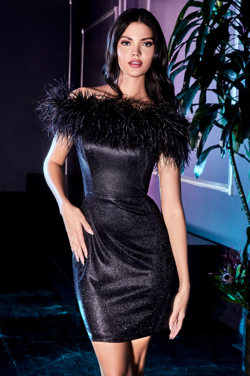 Jawdropping Off Shoulder Shimmery Short Gown with Feather Accent #CDCD946