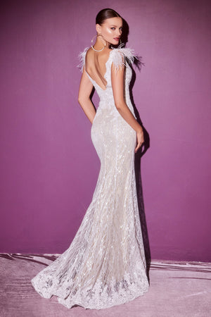 Gorgeous Long Gown with Feather Accents and Embroidered Detailing #CDCD952