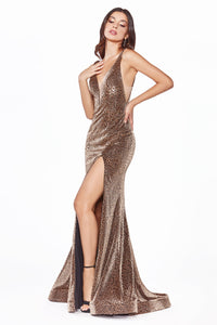 Shimmering Leopard Dress With Slit Leg Style #LACDS322 | Prom 2020