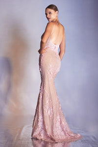 Gorgeous Long Gown with Deep Neckline and Floral Accents #CDCDS403