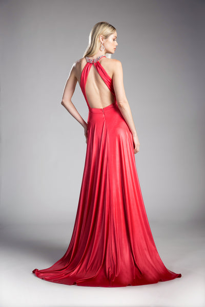 Long Chiffon Halter Dress With Sexy Leg Split | Norma Reed