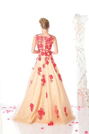 LONG GOWN FEATURING GORGEOUS FLOWER LACE STYLE #CNDCF193 - NORMA REED - 2