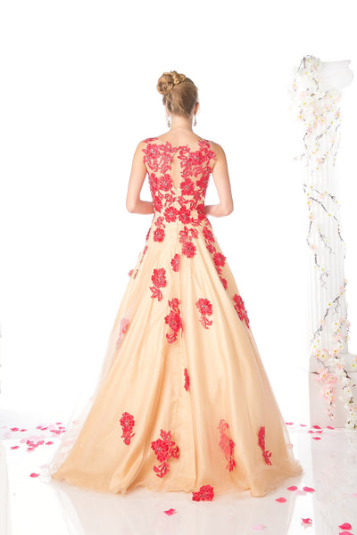LONG GOWN FEATURING GORGEOUS FLOWER LACE STYLE #CNDCF193