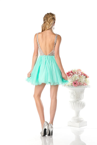 SHORT MINT PROM DRESS WITH CRYSTAL EMBROIDERY STYLE #CNDCF202
