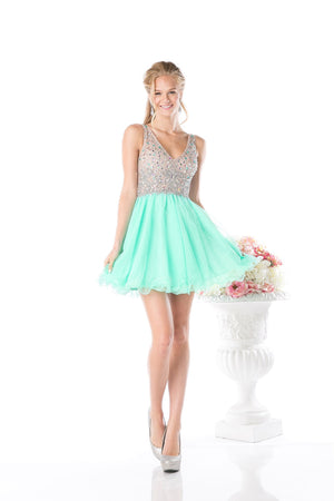 SHORT MINT PROM DRESS WITH CRYSTAL EMBROIDERY STYLE #CNDCF202 - NORMA REED - 1