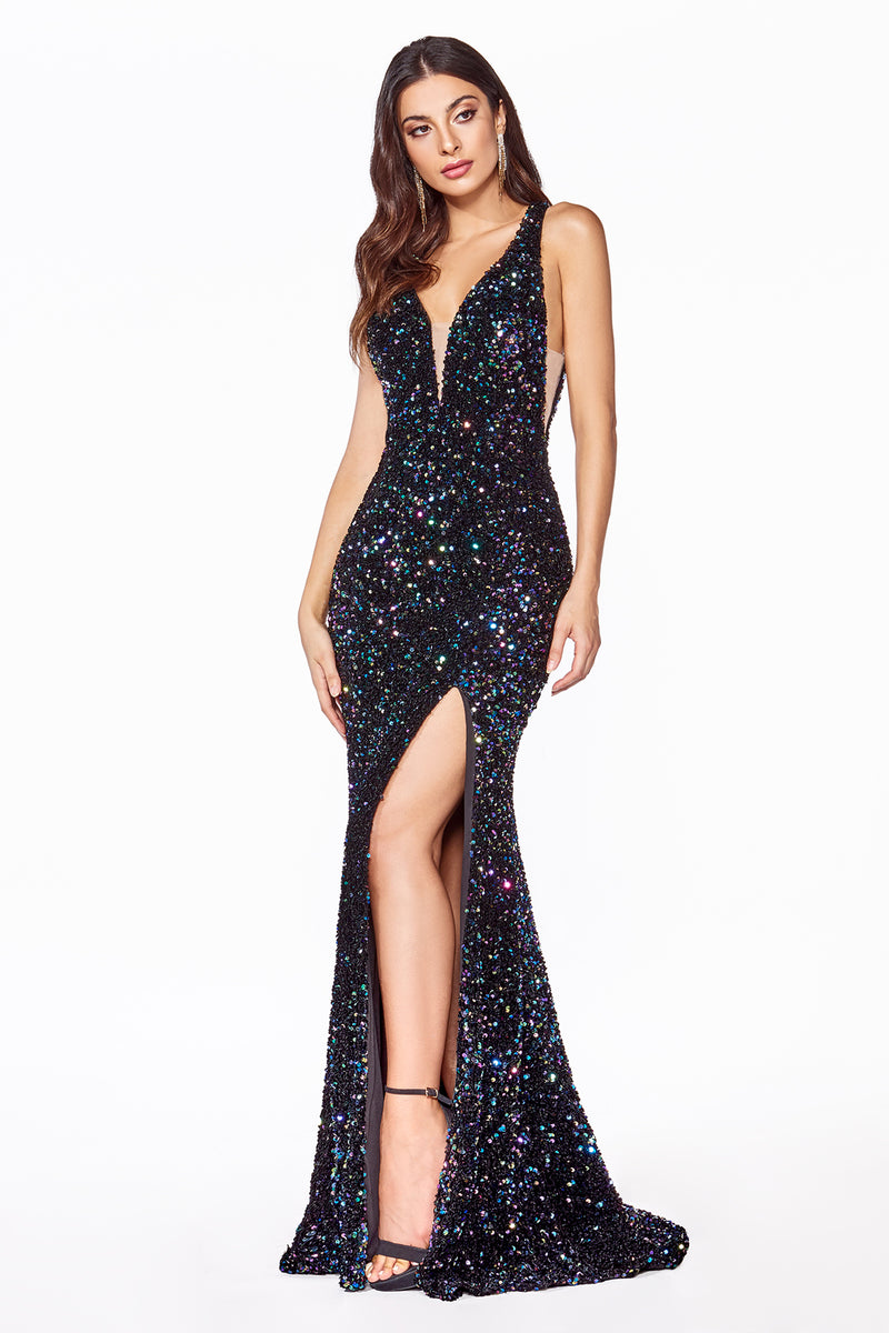 Black Crystal & Sequin Mermaid Gown With Slit Leg Style #LACF318 | Prom 2020