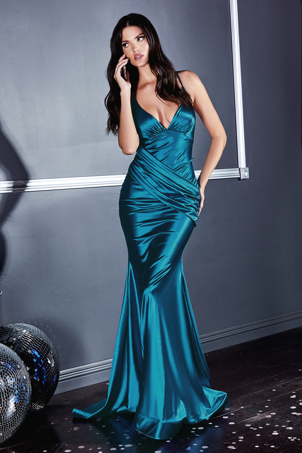 Elegant Mermaid-Style Gown with Deep Neckline and Wrapped Bodice #CDCH236