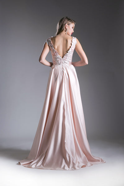 Flowing Chiffon Long Dress with Austrian Crystal & Lace Style #CACJ237
