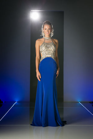 Long Chiffon Mermaid Dress with Crystal Embroidery & High Neckline Style #CNDCK23 - NORMA REED - 3