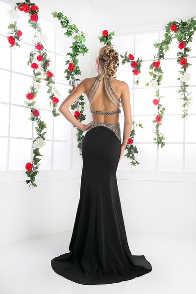 Long Chiffon Mermaid Dress with Crystal Embroidery & High Neckline Style #CNDCK23