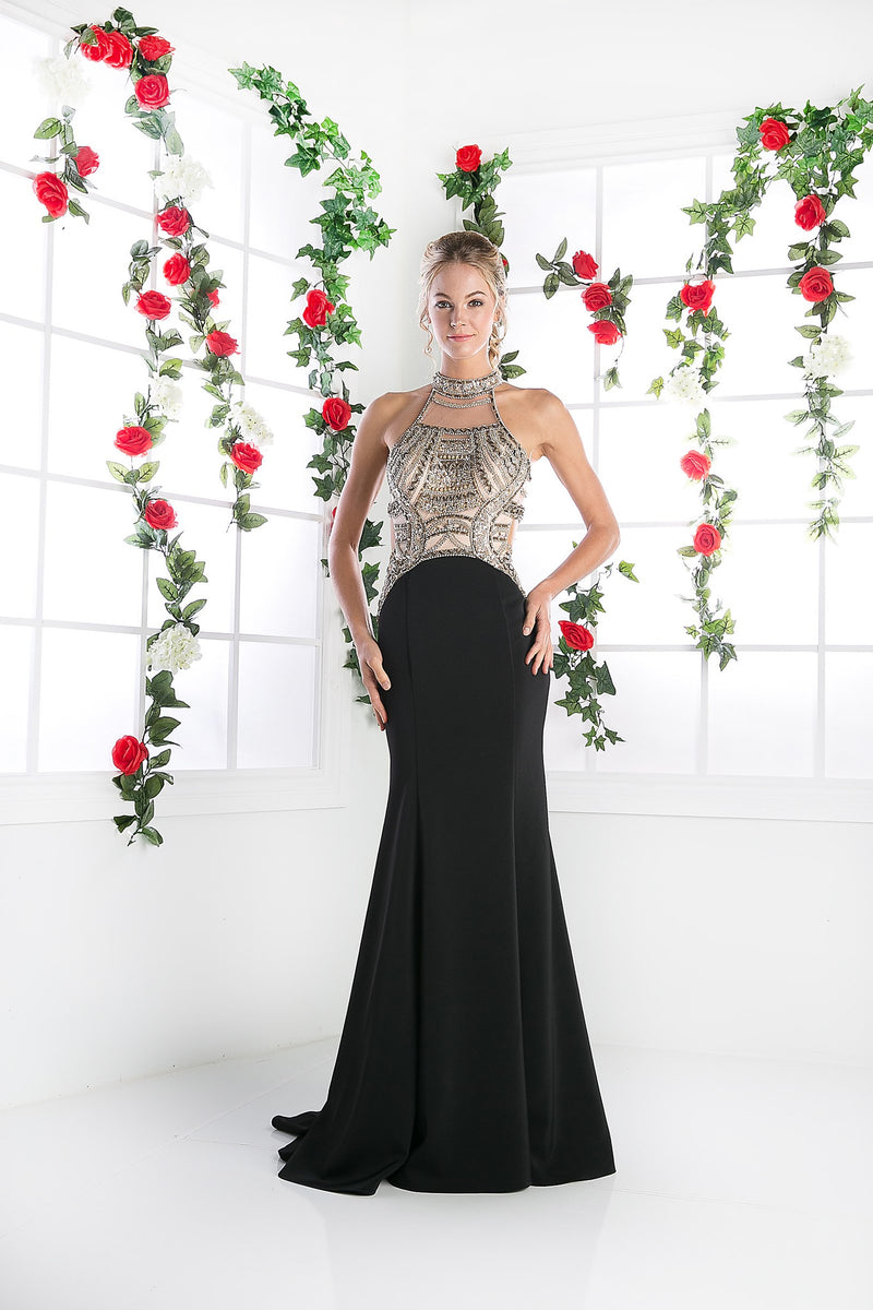 Long Chiffon Mermaid Dress with Crystal Embroidery & High Neckline Style #CNDCK23 - NORMA REED - 1