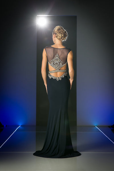 LONG FLOWING GOWN WITH LACE & CRYSTAL EMBROIDERY STYLE #CNDCK25