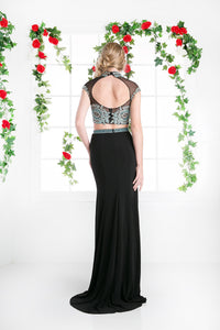 LONG TWO PIECE DRESS WITH LACE EMBROIDERY STYLE #CNDCK41 - NORMA REED - 2