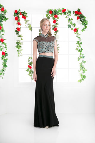 LONG TWO PIECE DRESS WITH LACE EMBROIDERY STYLE #CNDCK41