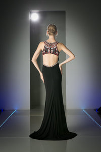 LONG CHIFFON DRESS WITH CRYSTAL & STONE EMBROIDERY STYLE #CNDCK58 - NORMA REED - 2