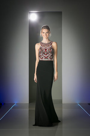LONG CHIFFON DRESS WITH CRYSTAL & STONE EMBROIDERY STYLE #CNDCK58 - NORMA REED - 1