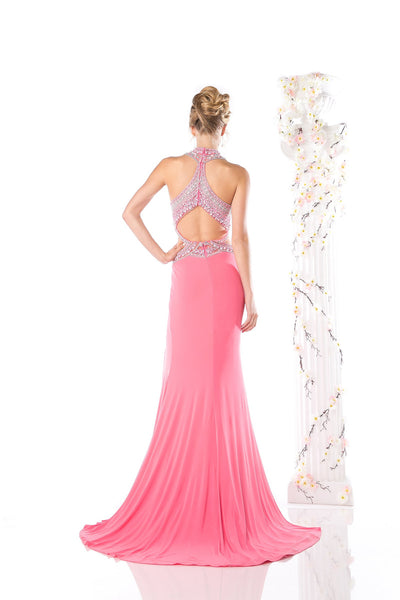 LONG DRESS WITH SLIT & CRYSTAL EMBROIDERY STYLE #CNDCK60