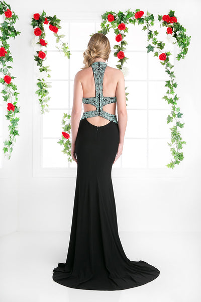 LONG HALTER NECK DRESS WITH LACE & SIDE SLITS STYLE #CNDCK71