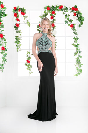 LONG HALTER NECK DRESS WITH LACE & SIDE SLITS STYLE #CNDCK71 - NORMA REED