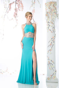 LONG SEXY SLIT DRESS WITH CRYSTAL WAIST & BACK STYLE #CNDCK74 - NORMA REED - 1
