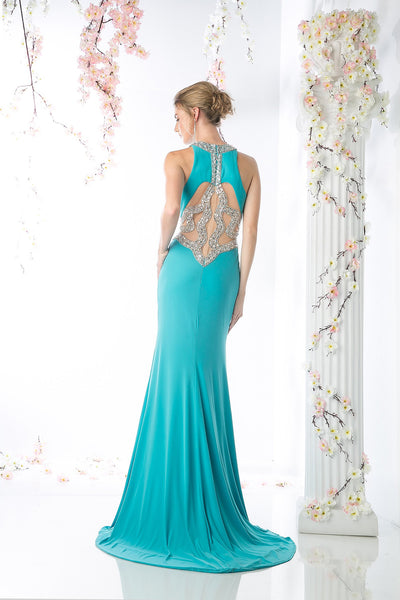 LONG SEXY SLIT DRESS WITH CRYSTAL WAIST & BACK STYLE #CNDCK74