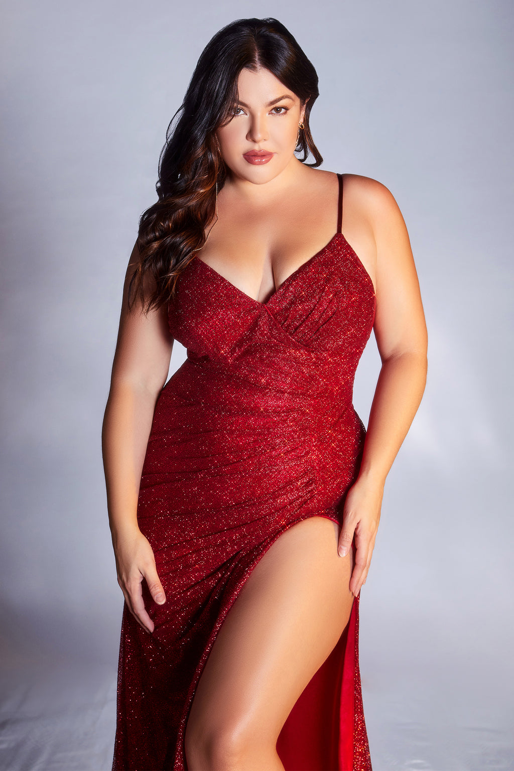 Opulent Plus Size Shimmery Gown with Deep Leg Slit #CDCM8017C