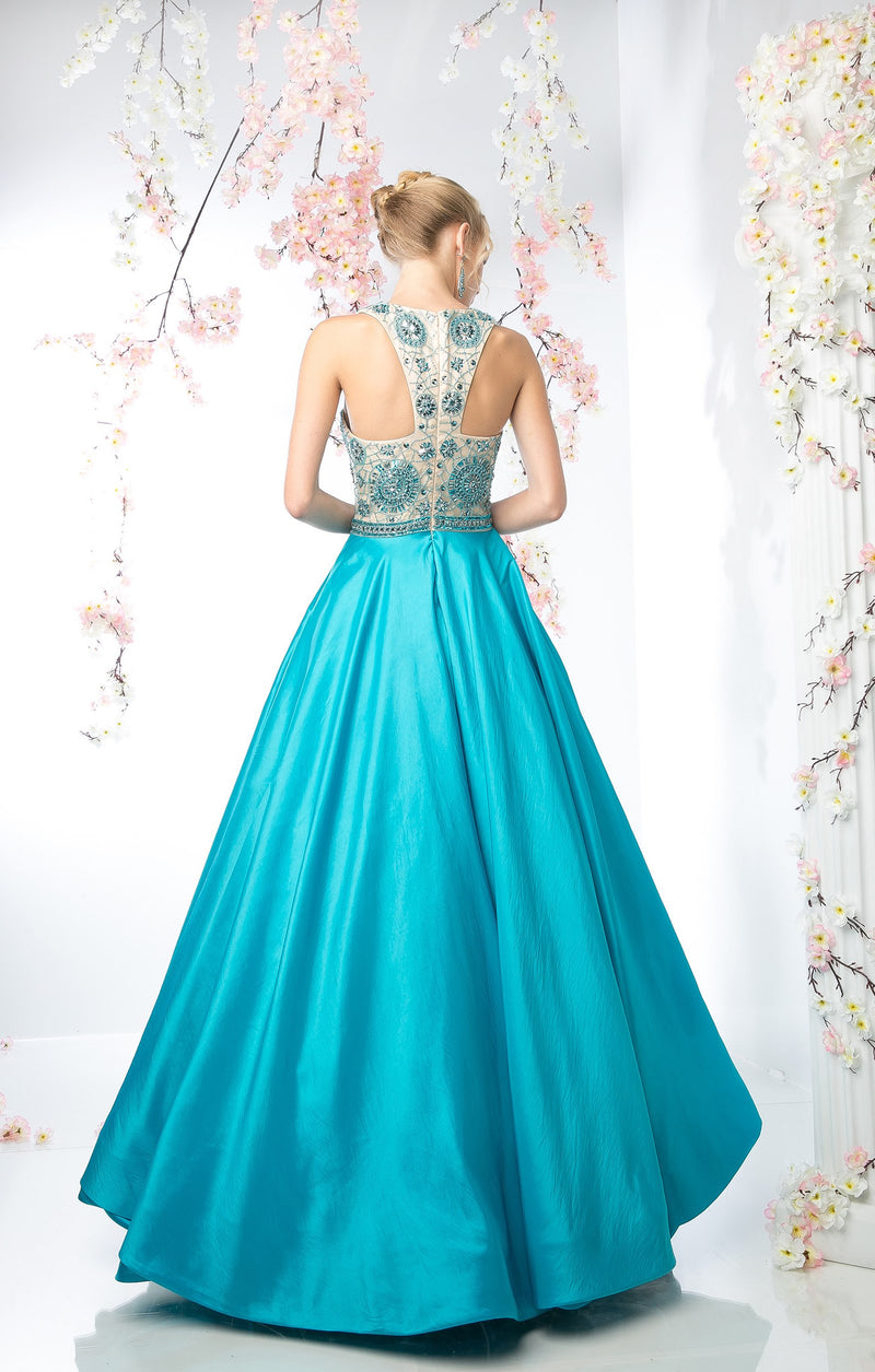 LONG BALL GOWN WITH LACE & CRYSTAL EMBROIDERY STYLE #CNDCP801 - NORMA REED - 2
