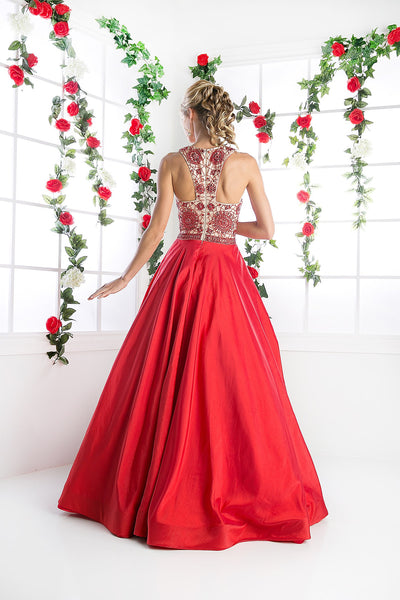 LONG BALL GOWN WITH LACE & CRYSTAL EMBROIDERY STYLE #CNDCP801