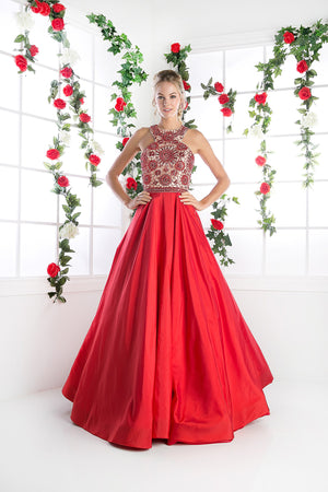 LONG BALL GOWN WITH LACE & CRYSTAL EMBROIDERY STYLE #CNDCP801 - NORMA REED - 3
