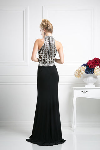 LONG CHIFFON DRESS WITH CRYSTAL EMBROIDERY FRONT AND BACK STYLE #CNDCR107