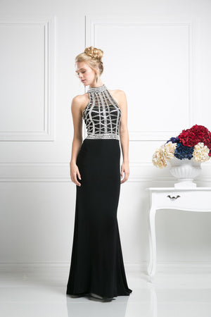 LONG CHIFFON DRESS WITH CRYSTAL EMBROIDERY FRONT AND BACK STYLE #CNDCR107 - NORMA REED - 1