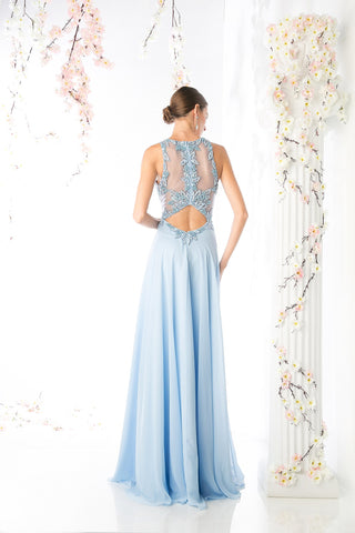 LONG CHIFFON DRESS WITH LACE ON SHEEN STYLE #CNDCR739