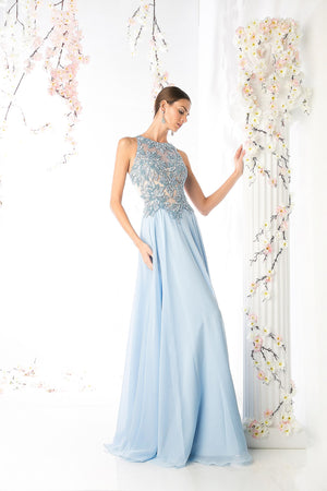 LONG CHIFFON DRESS WITH LACE ON SHEEN STYLE #CNDCR739 - NORMA REED - 1