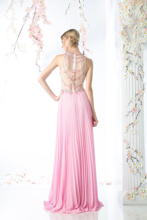 LONG CHIFFON DRESS WITH STONE & CRYSTAL EMBROIDERY STYLE #CNDCR742 - NORMA REED - 3
