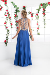 LONG CHIFFON DRESS WITH STONE & CRYSTAL EMBROIDERY STYLE #CNDCR742 - NORMA REED - 2