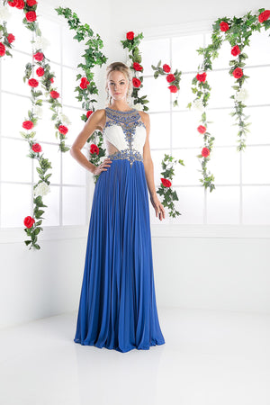 LONG CHIFFON DRESS WITH STONE & CRYSTAL EMBROIDERY STYLE #CNDCR742 - NORMA REED - 4