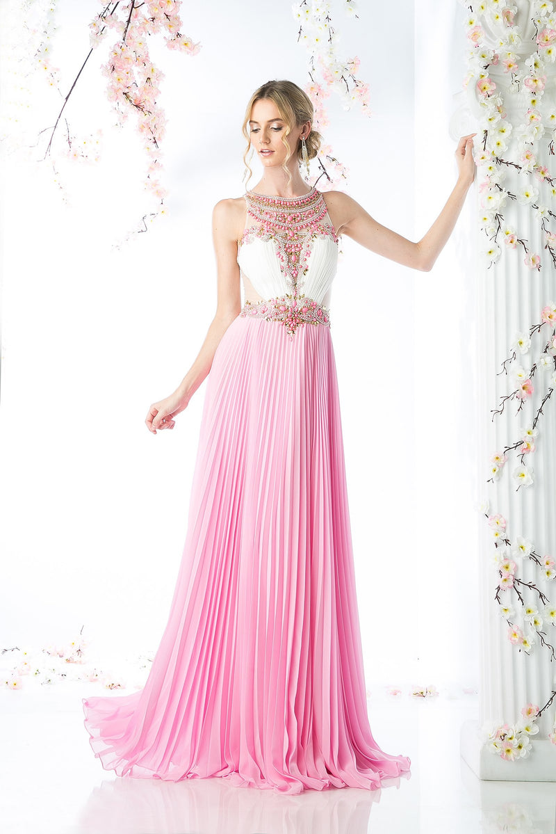 LONG CHIFFON DRESS WITH STONE & CRYSTAL EMBROIDERY STYLE #CNDCR742 - NORMA REED - 1
