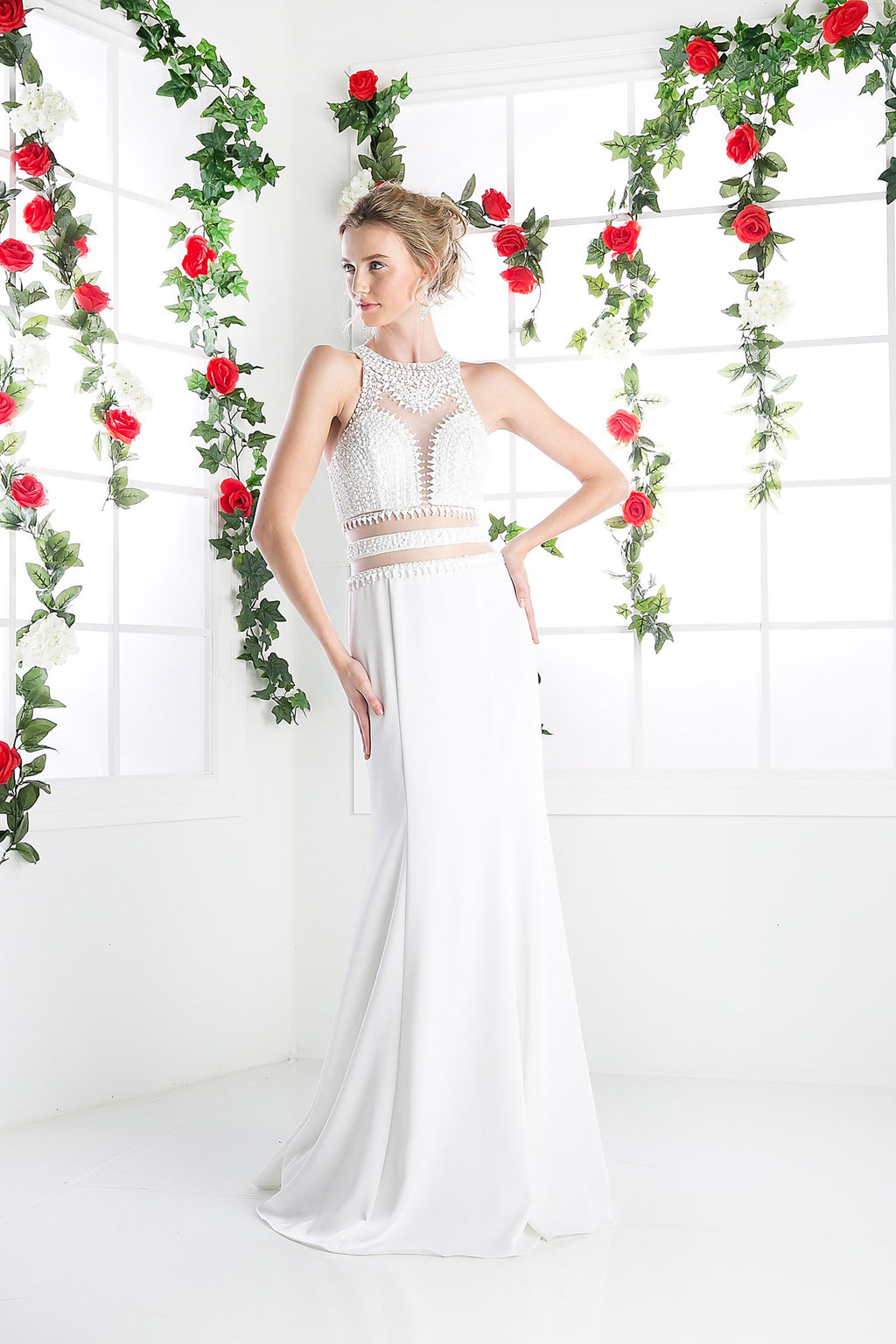 LONG CHIFFON DRESS WITH HIGH NECKLINE STYLE #CNDCR749 - NORMA REED - 1