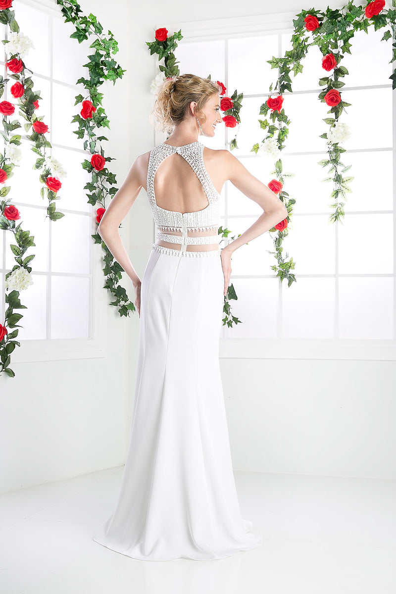 LONG CHIFFON DRESS WITH HIGH NECKLINE STYLE #CNDCR749 - NORMA REED - 2
