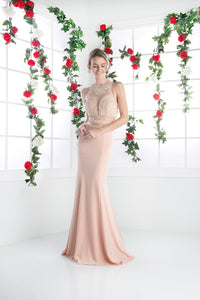 LONG CHIFFON DRESS WITH HIGH NECKLINE STYLE #CNDCR749 - NORMA REED - 3
