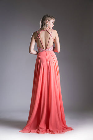Chiffon Long Dress with Shimmering Austrian Crystal Style #CACR775