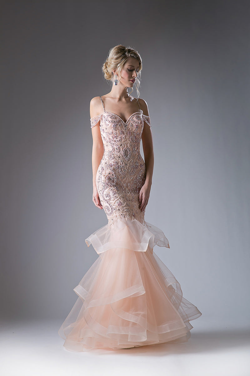 Mermaid Ball Gown with Austrian Crystal & Lace Style #CACR776